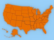 USA map in red. On blue Stock Photography