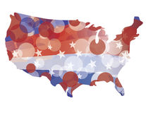 USA Map with Red White Blue Circle Pattern Stock Images