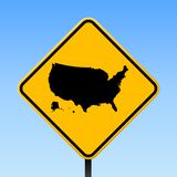 USA map on road sign. Square poster with USA country map on yellow rhomb road sign. Vector illustration vector illustration