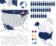 USA map with it's states and navigation map icons. USA map with it's states and North America map with navigation map pointers Royalty Free Stock Photo