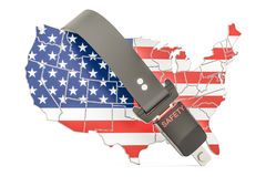 USA map with safety belt. Security and protect or insurance conc Royalty Free Stock Image