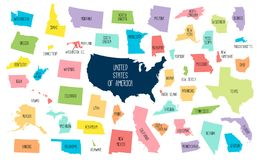 USA map with separated states. Colorful outlines of the 50 states with labels royalty free illustration