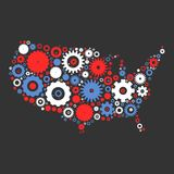 USA map silhouette mosaic of cogs and gears Royalty Free Stock Photography