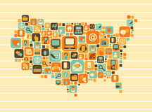 USA Map: social and media icons Stock Photo