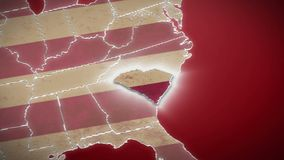 USA map, South Carolina pull out, all states available. Red background. Stock footage stock video footage