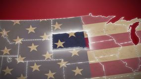 USA map, South Dakota pull out, all states available. Red background. Stock footage stock video footage