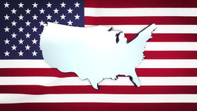 USA map spinning against Stars and Stripes flag stock video