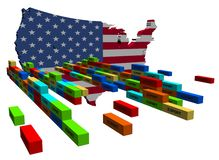 USA map with stacks of containers Stock Photography