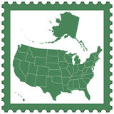 USA map on stamp. Map of the USA on the postage stamp. All objects are independent and fully editable. Source of map: http://www.lib.utexas.edu/maps/ Stock Image
