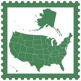 USA map on stamp Stock Image