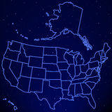 USA map on starry sky Royalty Free Stock Photography