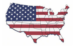 USA map with state borders. Illustration of USA with state borders and stars and stripes background Royalty Free Stock Photography
