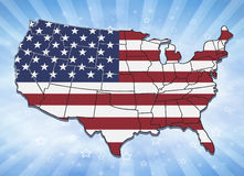 USA map with state borders. Illustration of USA with state borders and stars and stripes background royalty free illustration