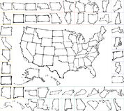 USA map with states. brush strokes. America map. handwritten illustration. separated states of USA Royalty Free Stock Photography