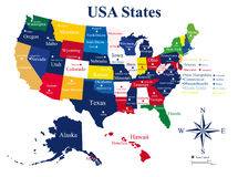 USA map with states and capital cities Royalty Free Stock Photo