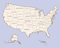 Usa map with states names Royalty Free Stock Photo