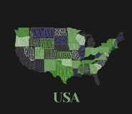 USA map with states- pictorial geographical decorative poster. Of America hand drawn lettering design for wall decoration print. Unique creative typography royalty free illustration
