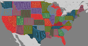 USA map with states - pictorial geographical poster of America. Hand drawn lettering design for wall decoration, travel guide, print. Unique creative stock illustration