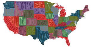 USA map with states - pictorial geographical poster of America,. Hand drawn lettering design for wall decoration, travel guide, print. Unique creative vector illustration
