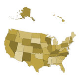 USA map -  states separated in the groups Royalty Free Stock Photography