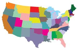 USA map with states. Vector illustrations of the USA map with states Royalty Free Stock Image