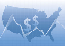 USA map stylized with dollar sign. Royalty Free Stock Photo