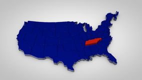 Usa map with tennessee map highlited 3d render. Illustration Royalty Free Stock Photography