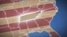 USA map, Tennessee pull out, all states available. Blue background. Stock footage stock video