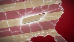 USA map, Tennessee pull out, all states available. Red background. Stock footage stock video
