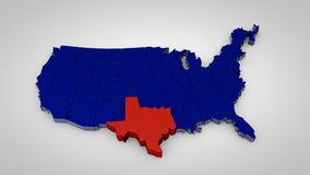 Usa map with texas map highlited 3d render. Illustration Royalty Free Stock Photography