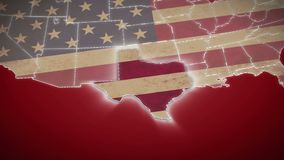 USA map, Texas pull out, all states available. Red background. Stock footage stock footage