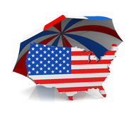 USA Map + Umbrella Stock Images