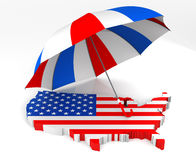 USA Map + Umbrella Stock Image