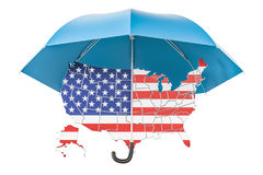USA map under umbrella. Security and protect or insurance concep. T, 3D rendering isolated on white background Royalty Free Stock Image