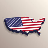 USA map with United States flag Stock Photography