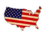 USA map on USA flag drawing Stock Images