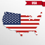 USA map with USA flag inside and ribbon Stock Images