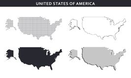 USA map vector collection, abstract patterns Stock Photography