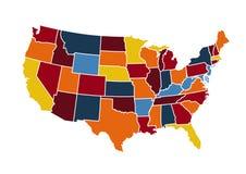 USA map vector illustration. On white Stock Photos