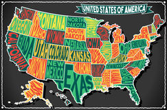 USA Map Vintage Blackboard 2D Royalty Free Stock Photography