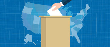 Usa map vote election hand holding ballot paper into box US united states of america Royalty Free Stock Photography