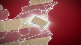 USA map, Washington DC pull out, all states available. Red background. Stock footage stock video