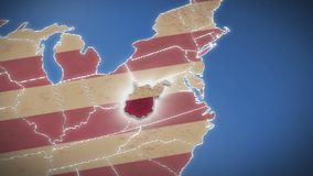 USA map, West Virginia pull out, all states available. Blue background. Stock footage stock footage