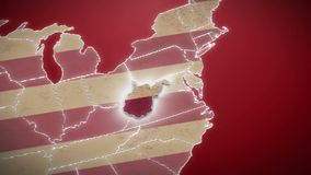 USA map, West Virginia pull out, all states available. Red background. Stock footage stock footage