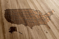 USA Map on Wood Royalty Free Stock Images