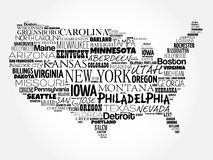USA Map word cloud collage. With most important cities Royalty Free Stock Photos