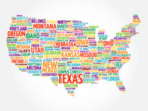 USA Map word cloud collage. With most important cities Royalty Free Stock Images