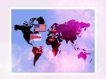 Usa on the map world Royalty Free Stock Image