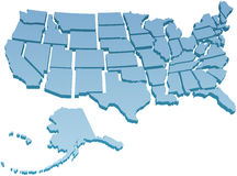 USA mapa oddzielny Stany Zjednoczone Zdjęcia Stock