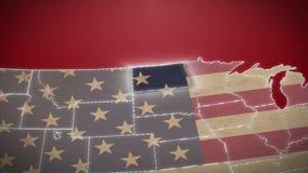 USA mapa, Północny Dakota wyciągał, wszystko twierdzi dostępnego Czerwony tło zbiory wideo